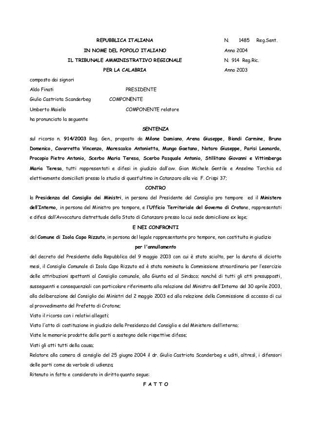 Isola di capo rizzuto sentenza tar ricorso contro lo scioglimento del consiglio comunale comune di-isola-capo-rizzuto-tar
