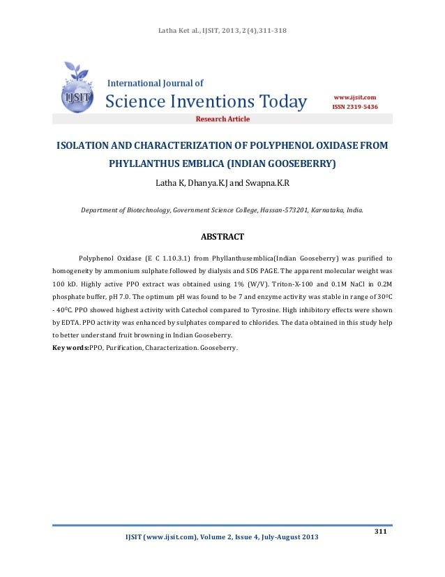 Isolation and characterization of polyphenol oxidase from phyllanthus emblica (indian gooseberry) ijsit 2.4.7