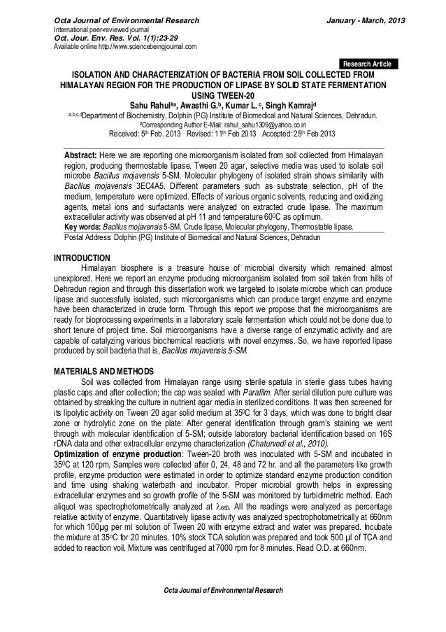 Octa Journal of Environmental Research January - March, 2013International peer-reviewed journalOct. Jour. Env. Res. Vol. 1...
