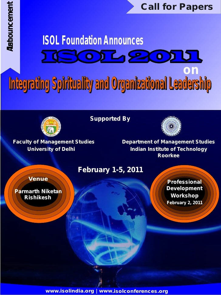 Announcement                                          Call for Papers                       ISOL Foundation Announces 1st ...