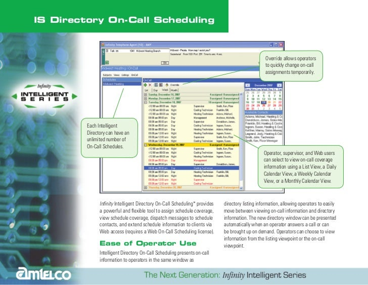 AMTELCO Infinity IS On Call Scheduling Directory