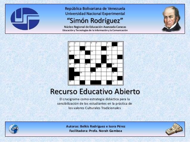 """República Bolivariana de Venezuela Universidad Nacional Experimental """"Simón Rodríguez"""" Núcleo Regional de Educación Avanza..."""