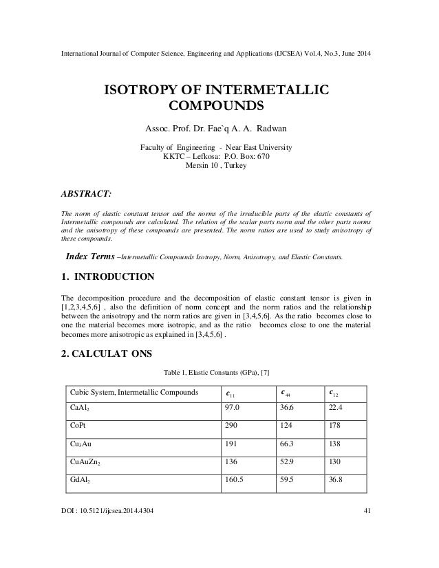 Isotropy of intermetallic compounds