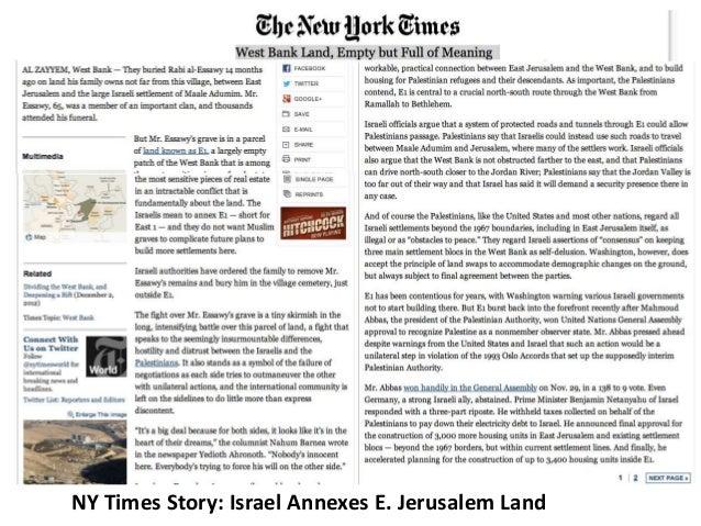 NY Times Story: Israel Annexes E. Jerusalem Land