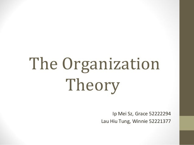The Organization Theory Ip Mei Sz, Grace 52222294 Lau Hiu Tung, Winnie 52221377