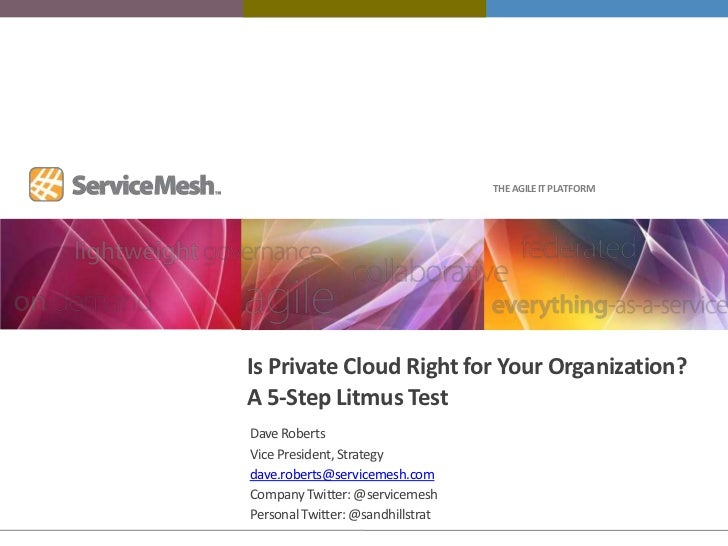 Is Private Cloud Right for Your Organization?A 5-Step Litmus Test<br />Dave Roberts<br />Vice President, Strategy<br />dav...