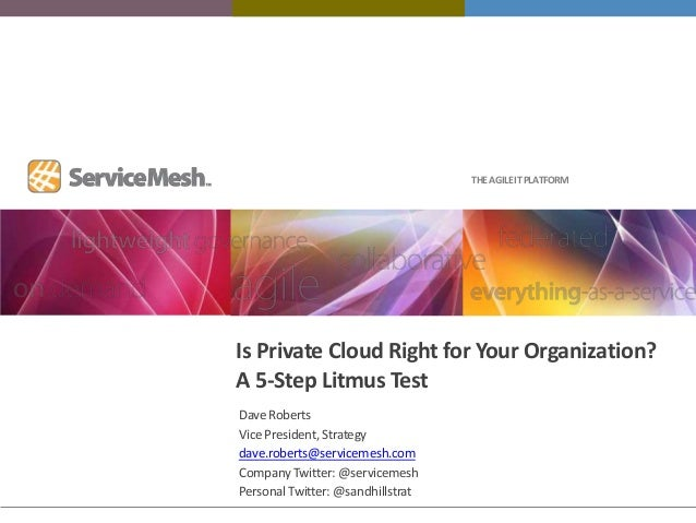 THE AGILE IT PLATFORMIs Private Cloud Right for Your Organization?A 5-Step Litmus TestDave RobertsVice President, Strategy...