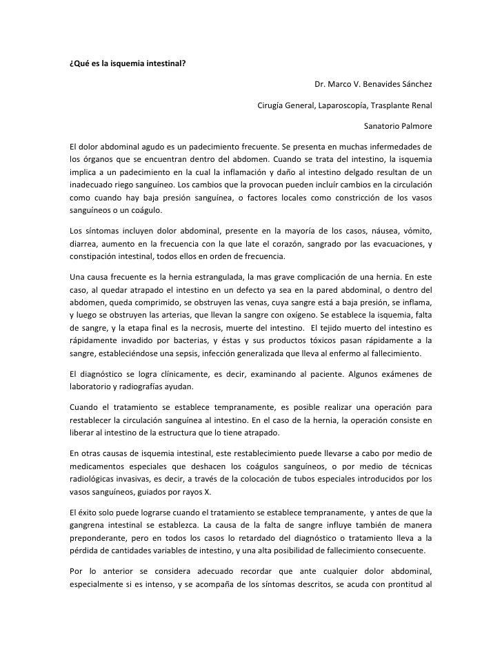 ¿Qué es la isquemia intestinal?<br />Dr. Marco V. Benavides Sánchez<br />Cirugía General, Laparoscopía, Trasplante Renal<b...