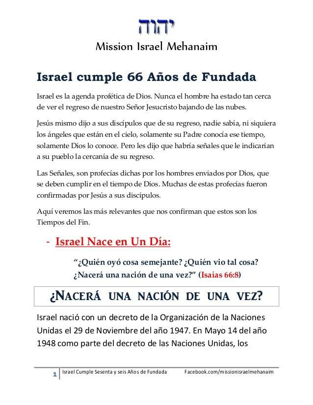 Israel Cumple Sesenta y seis Años de Fundada Facebook.com/missionisraelmehanaim Mission Israel Mehanaim Israel cumple 66 A...