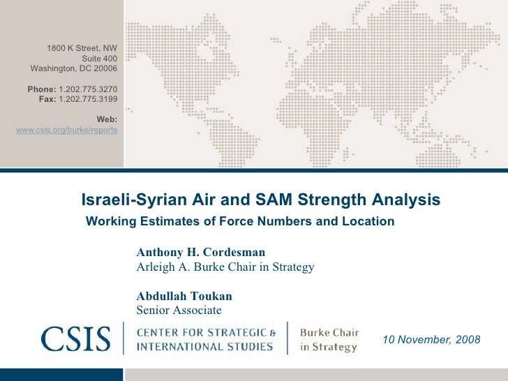 Israeli-Syrian Air and SAM Strength Analysis/ CSIS report 2008