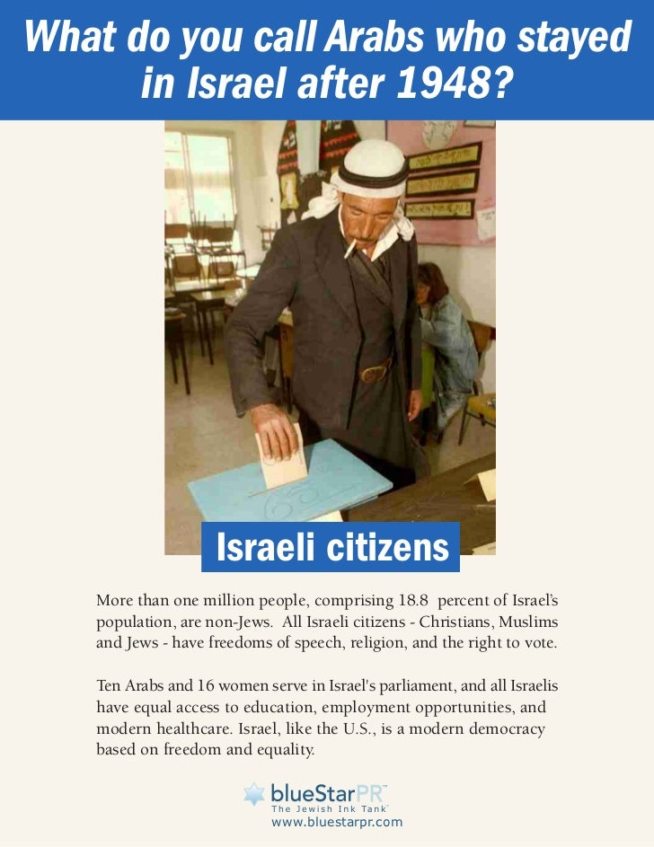 What do you call Arabs who stayed      in Israel after 1948?                    Israeli citizens   More than one million p...
