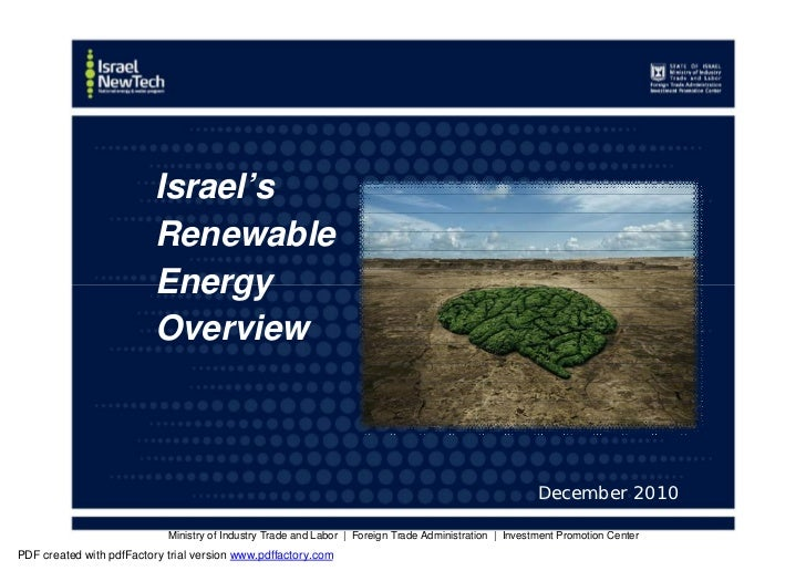 Israel's                          Renewable                          Energy                          Overview             ...