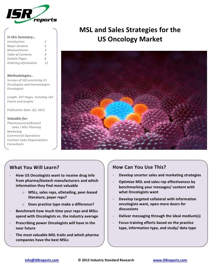 MSL and Sales Strategies for theIn this Summary…Introduction             2                    US Oncology MarketMajor Sect...