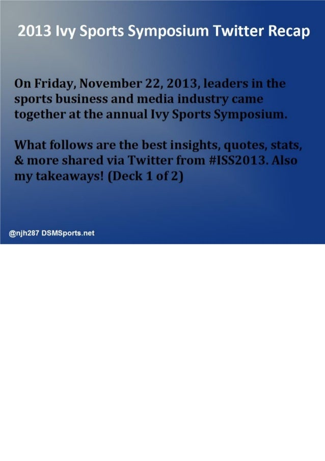 Ivy Sports Symposium #ISS2013 Twitter Recap [1 of 2]