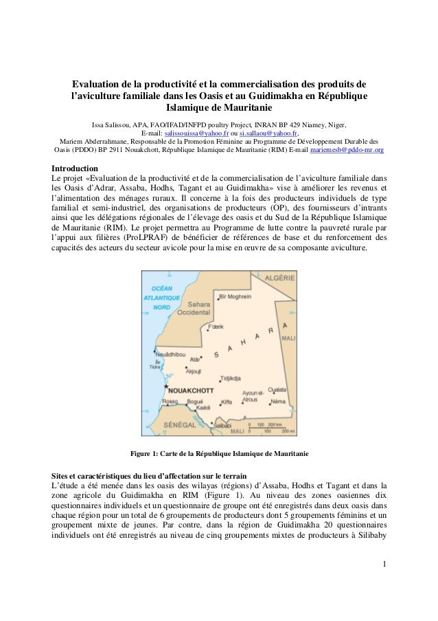 Evaluation de la productivité et la commercialisation des produits de      l'aviculture familiale dans les Oasis et au Gui...