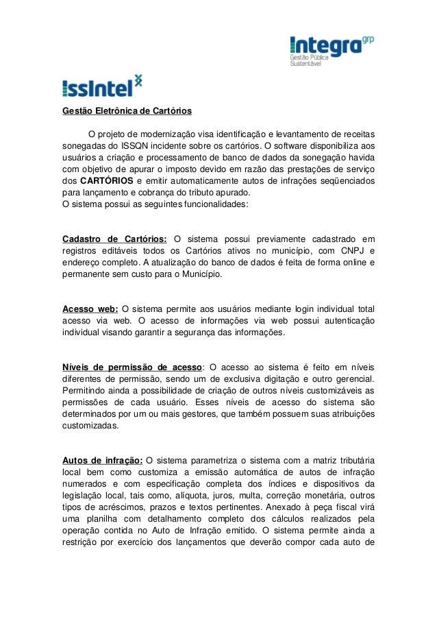 ISSIntel Software de Gestão Eletrônica de Cartórios