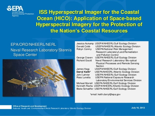Hyperspectral Imager for Coastal Ocean Imagery & Ocean Protection (HICO)
