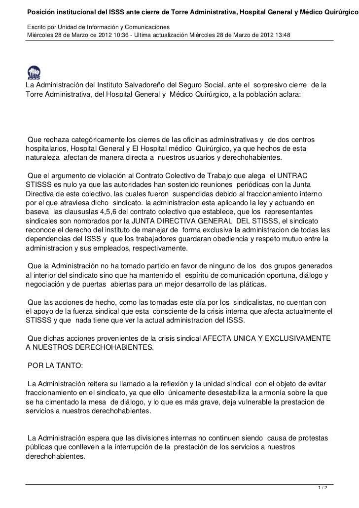 Posición institucional del ISSS ante cierre de Torre Administrativa, Hospital General y Médico QuirúrgicoEscrito por Unida...