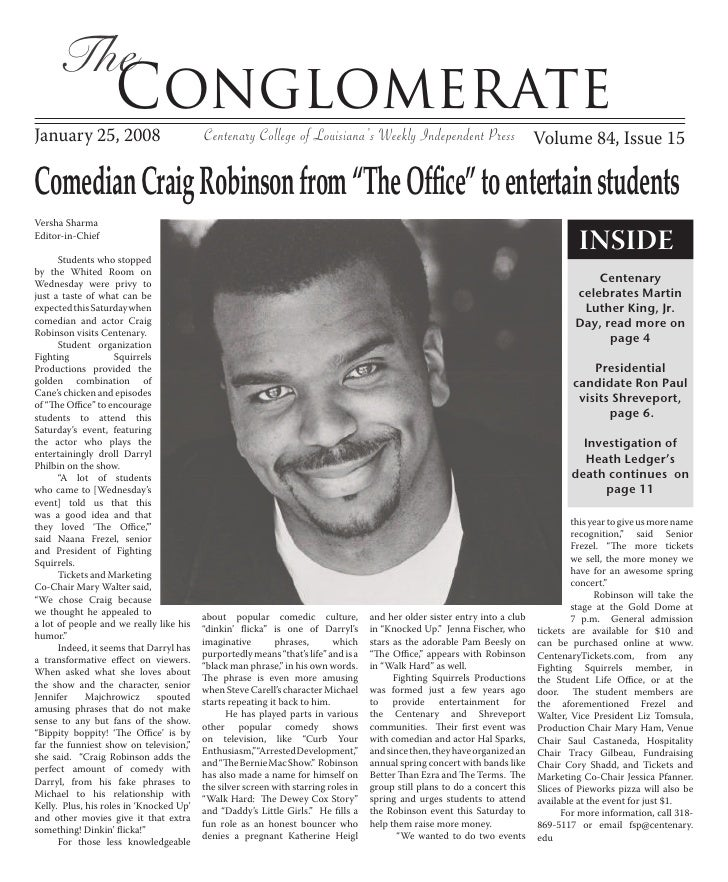 The                    Conglomerate January 25, 2008                         Centenary College of Louisiana's Weekly Indep...