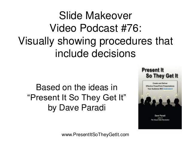 """Slide MakeoverVideo Podcast #76:Visually showing procedures thatinclude decisionsBased on the ideas in""""Present It So They ..."""