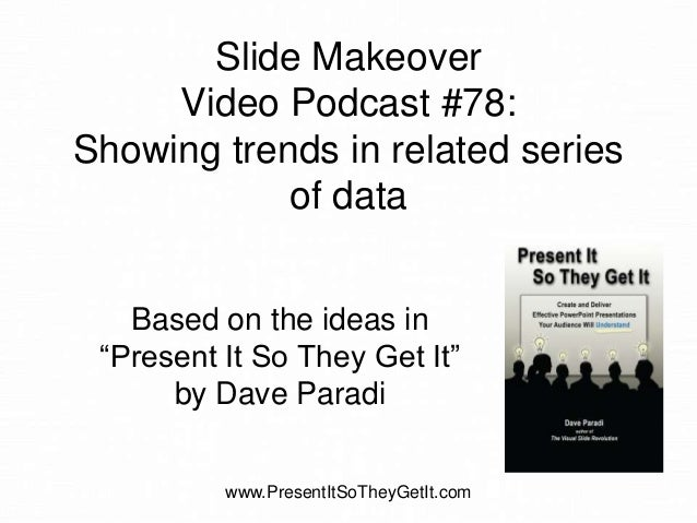 """Slide Makeover Video Podcast #78: Showing trends in related series of data Based on the ideas in """"Present It So They Get I..."""