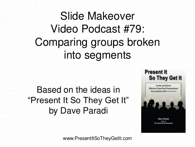 """Slide Makeover Video Podcast #79: Comparing groups broken into segments Based on the ideas in """"Present It So They Get It"""" ..."""