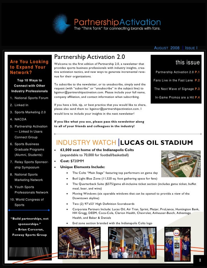 Partnership Activation 2.0 Newsletter - August 2008