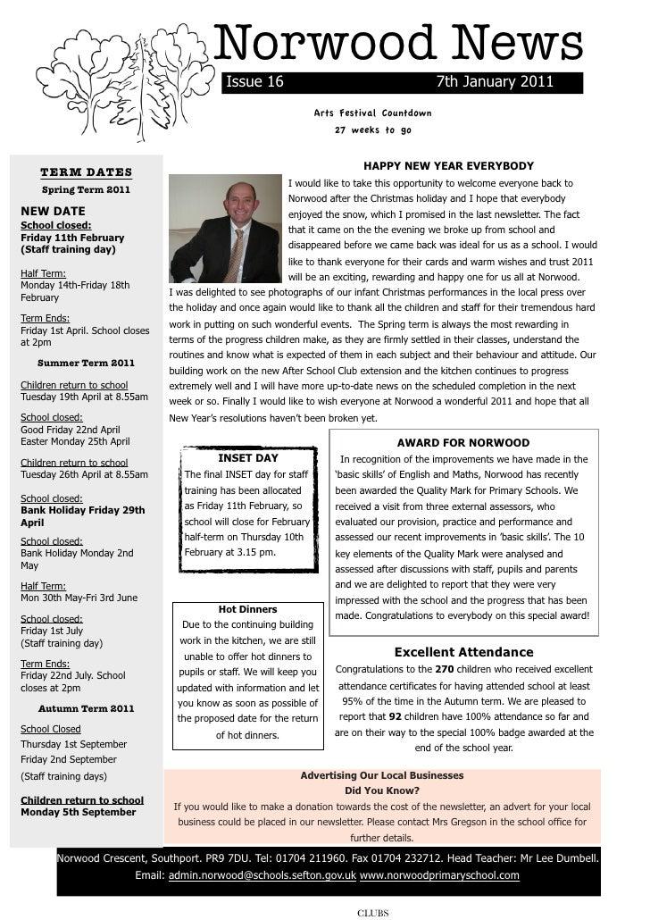 Norwood News                                                Issue 16                                              7th Janu...