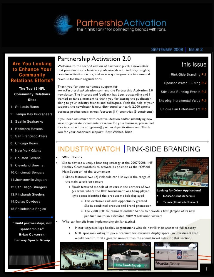 SEPTEMBER 2008          ISSUE 2                              Partnership Activation 2.0  Are You Looking            Welcom...