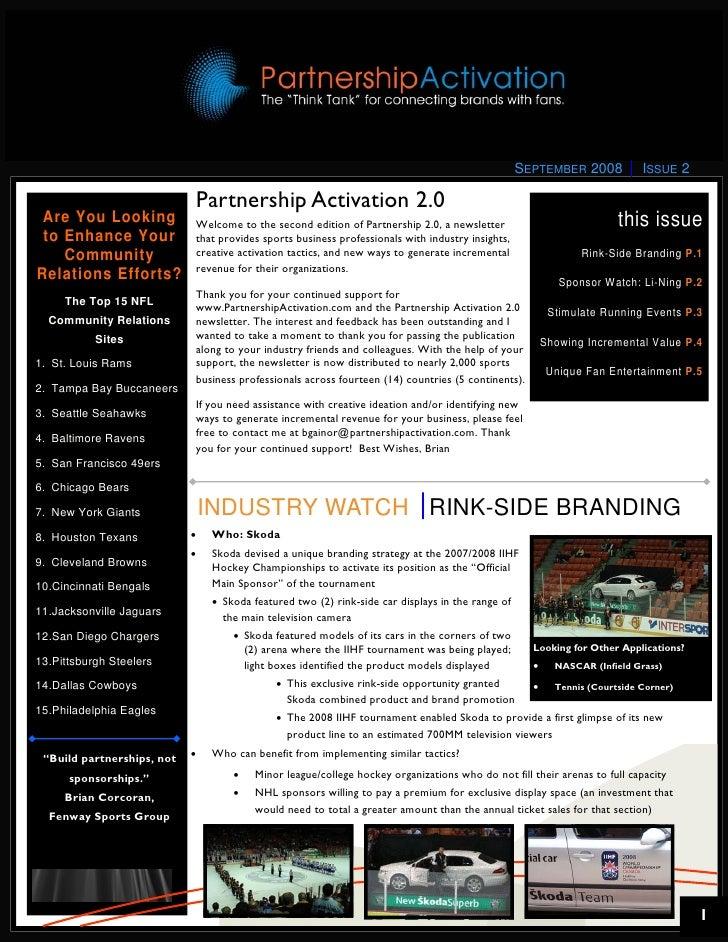 Partnership Activation 2.0 Newsletter - September 2008