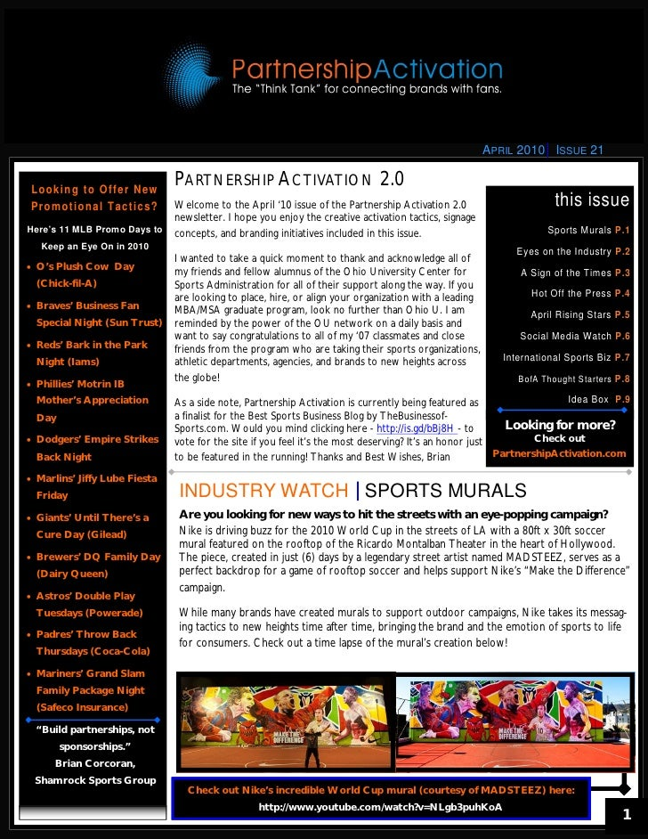 APRIL 2010 ISSUE 21    Looking to Offer New                                        PARTNERSHIP ACTIVATION 2.0  Pro m o t i...
