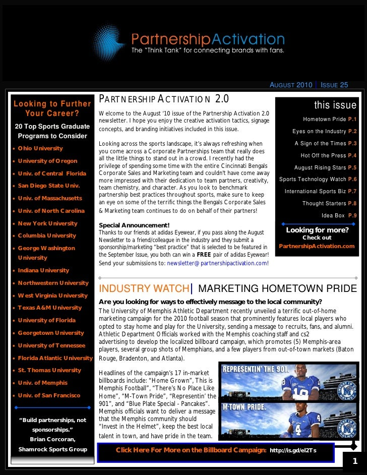 August 2010 Partnership Activation Newsletter