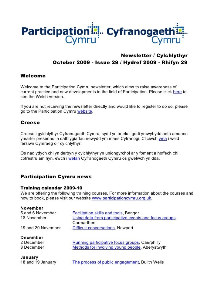 Newsletter / Cylchlythyr                  October 2009 - Issue 29 / Hydref 2009 - Rhifyn 29  Welcome  Welcome to the Parti...