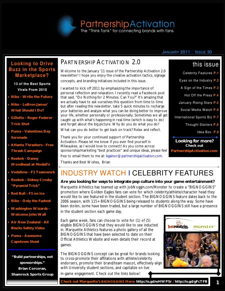 JANUARY 2011       ISSUE 30 Looking to Drive             PARTNERSHIP ACTIVATION 2.0                                       ...