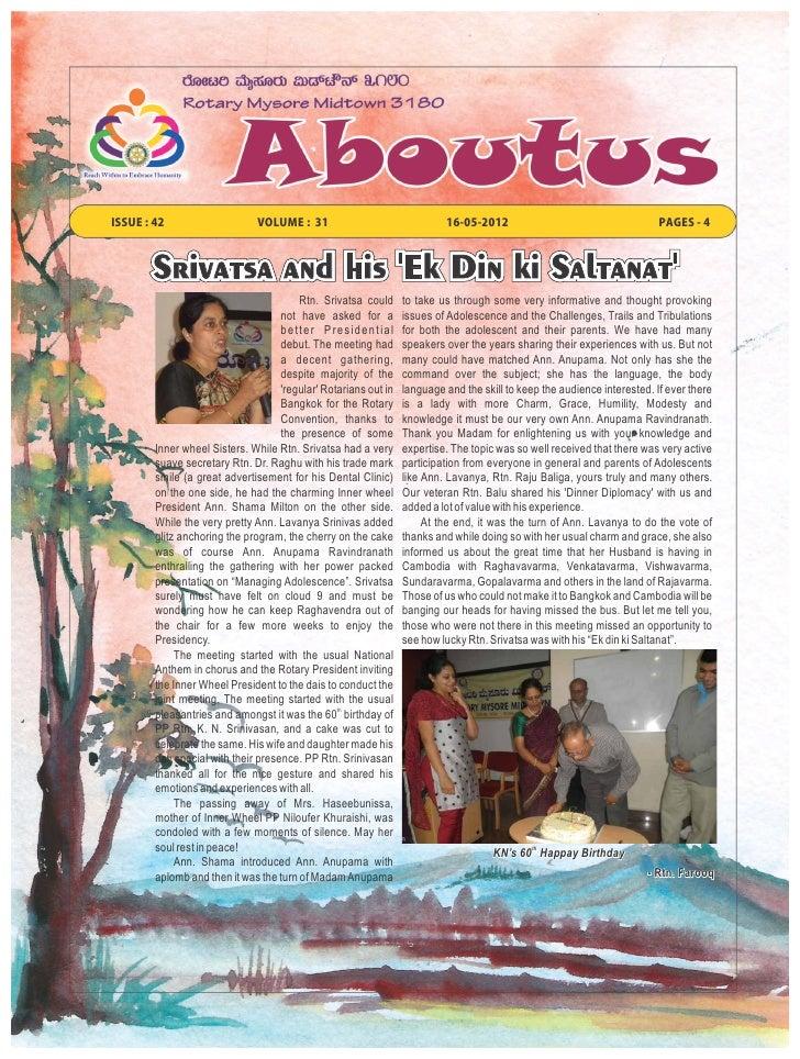 ISSUE : 42                     VOLUME : 31                                16-05-2012                                      ...