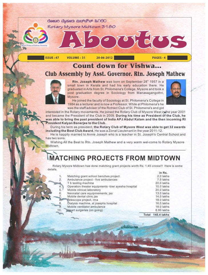 ISSUE : 47    VOLUME : 31          20-06-2012                             PAGES - 4         Count down for Vishwa…Club Ass...