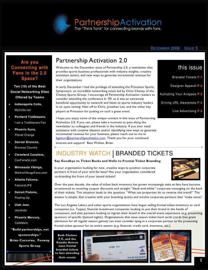 Partnership Activation 2.0 Newsletter - December 2008