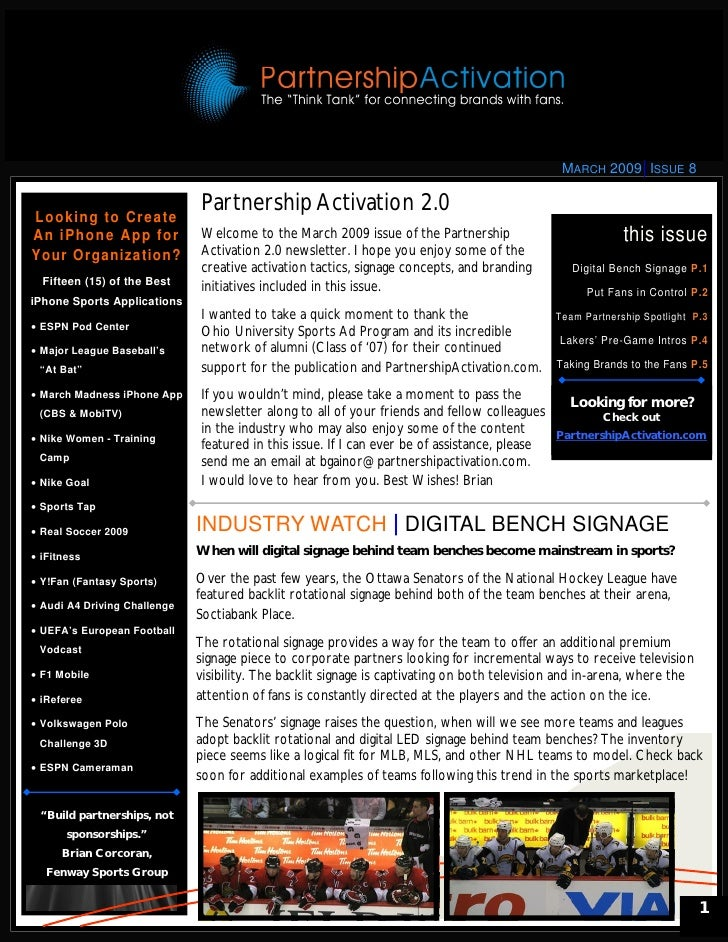 Partnership Activation 2.0 Newsletter - March 2009