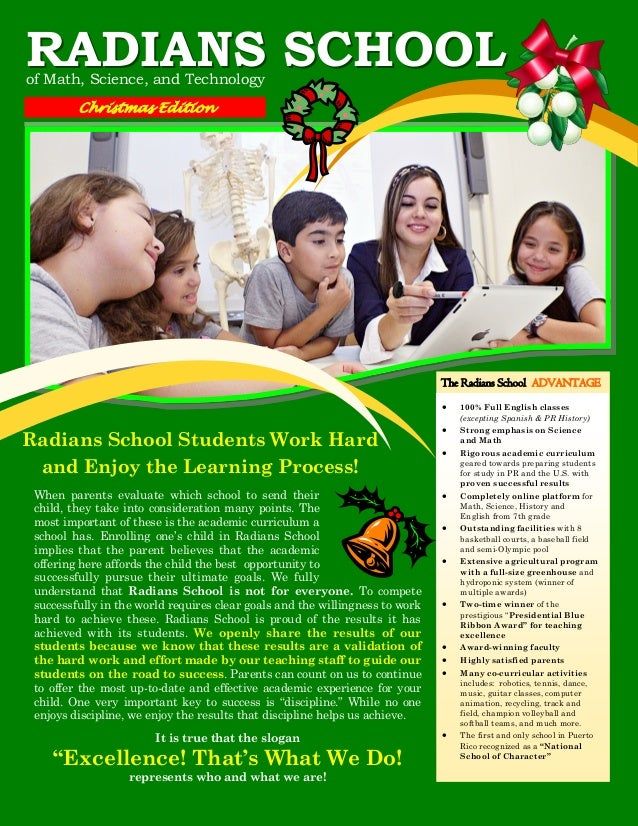 RADIANS SCHOOL of Math, Science, and Technology Christmas Edition  The Radians School ADVANTAGE   Radians School Students...
