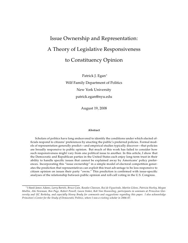 Issue Ownership and Representation:                        A Theory of Legislative Responsiveness                         ...
