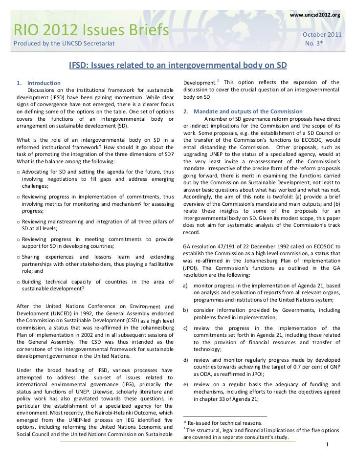 Issues Brief - IFSD