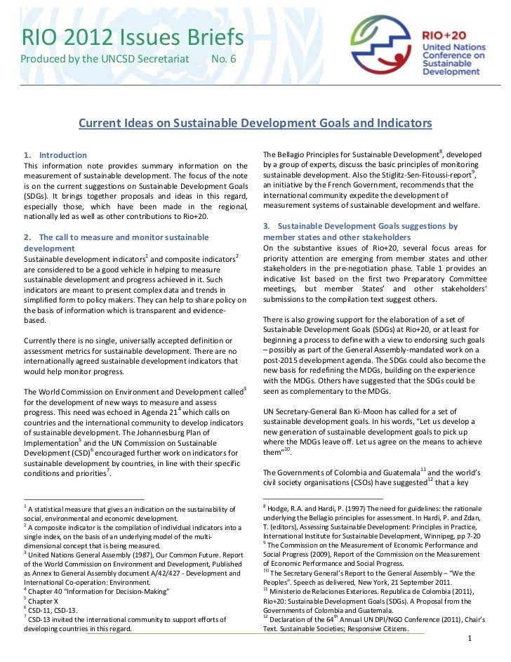 RIO 2012 Issues BriefsProduced by the UNCSD Secretariat                              No. 6                  Current Ideas ...