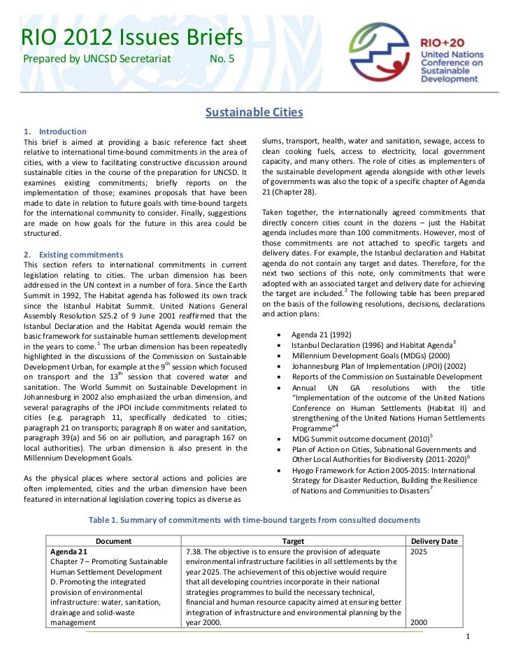 RIO 2012 Issues Briefs   Prepared by UNCSD Secretariat                               No. 5                               ...