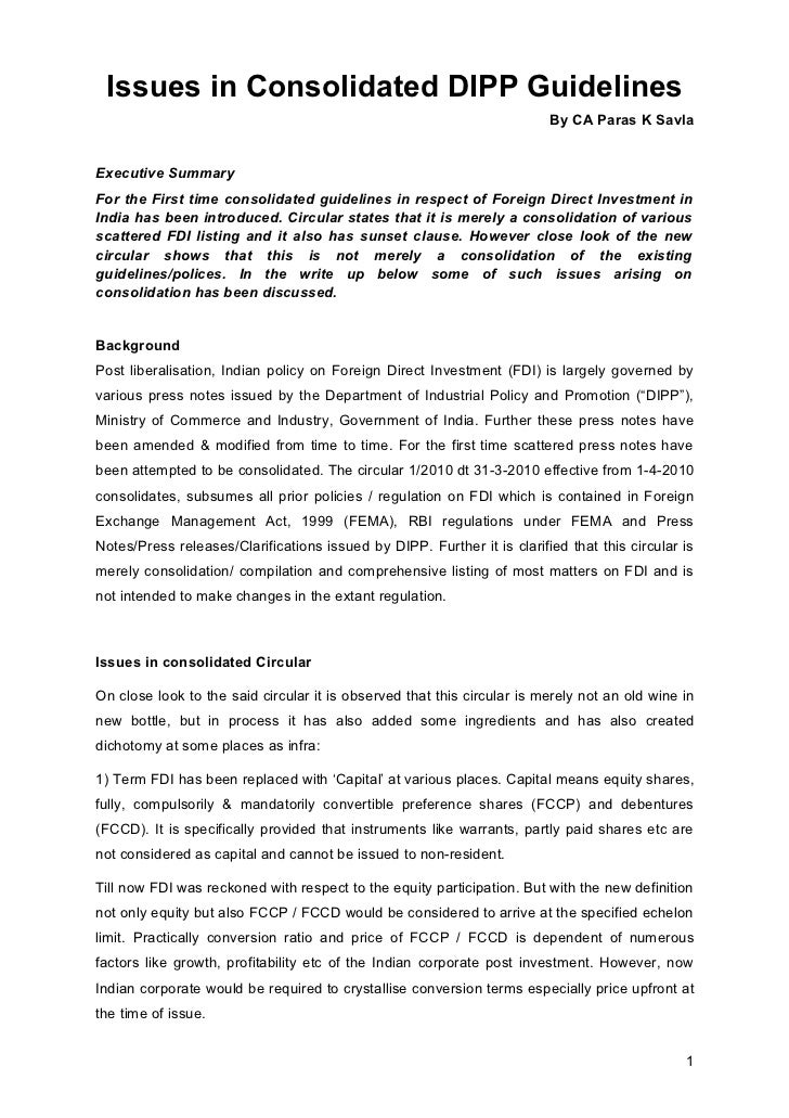 Issues in Consolidated DIPP Guidelines                                                                         By CA Paras...