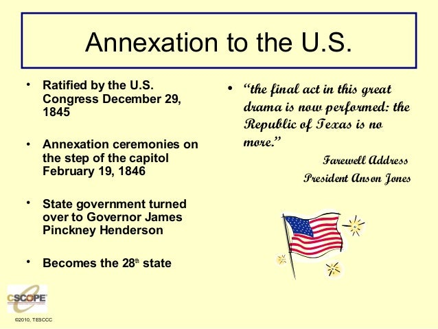 the annexation of mexico essay Settlers west and the annexation of the texas republic to the united states in 1845 mexico, the first step in the mexican american war.