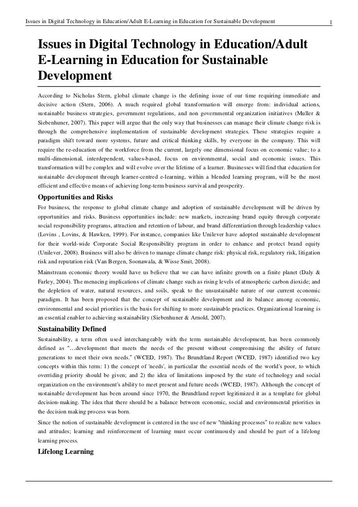 Issues in Digital Technology in Education/Adult E-Learning in Education for Sustainable Development                       ...