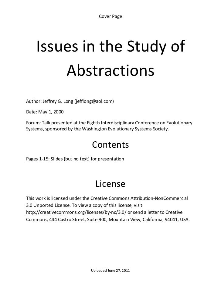 Cover Page       Issues in the Study of          Abstractions  Author: Jeffrey G. Long (jefflong@aol.com) Date: May 1, 200...