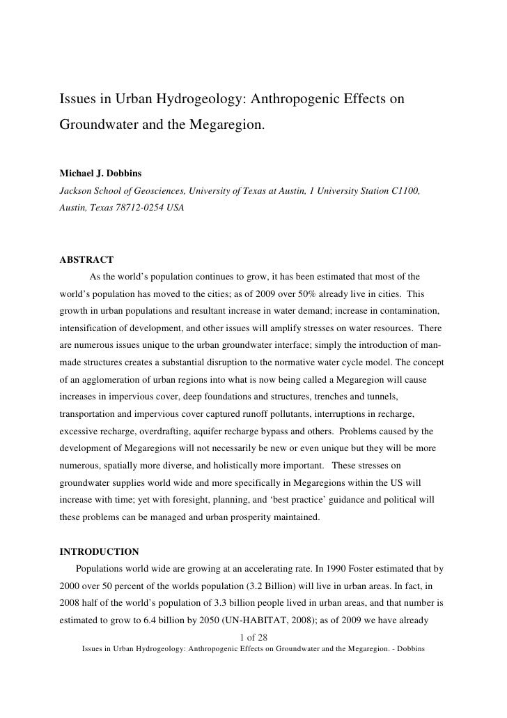 Issues in Urban Hydrogeology: Anthropogenic Effects on Groundwater and the Megaregion.   Michael J. Dobbins Jackson School...