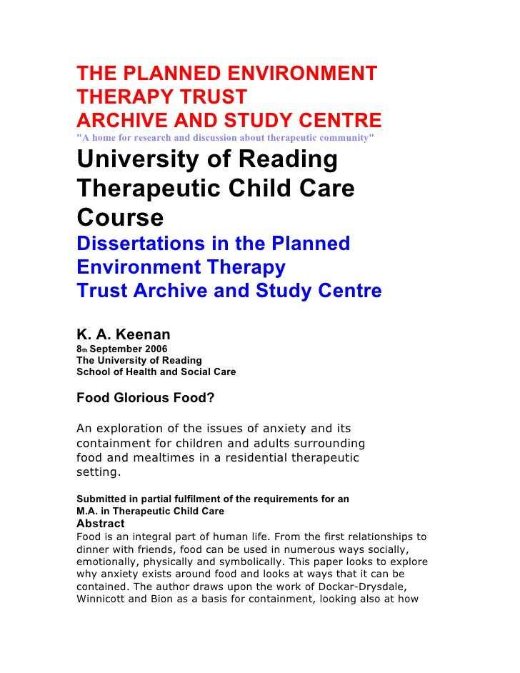 """THE PLANNED ENVIRONMENT THERAPY TRUST ARCHIVE AND STUDY CENTRE """"A home for research and discussion about therapeutic commu..."""