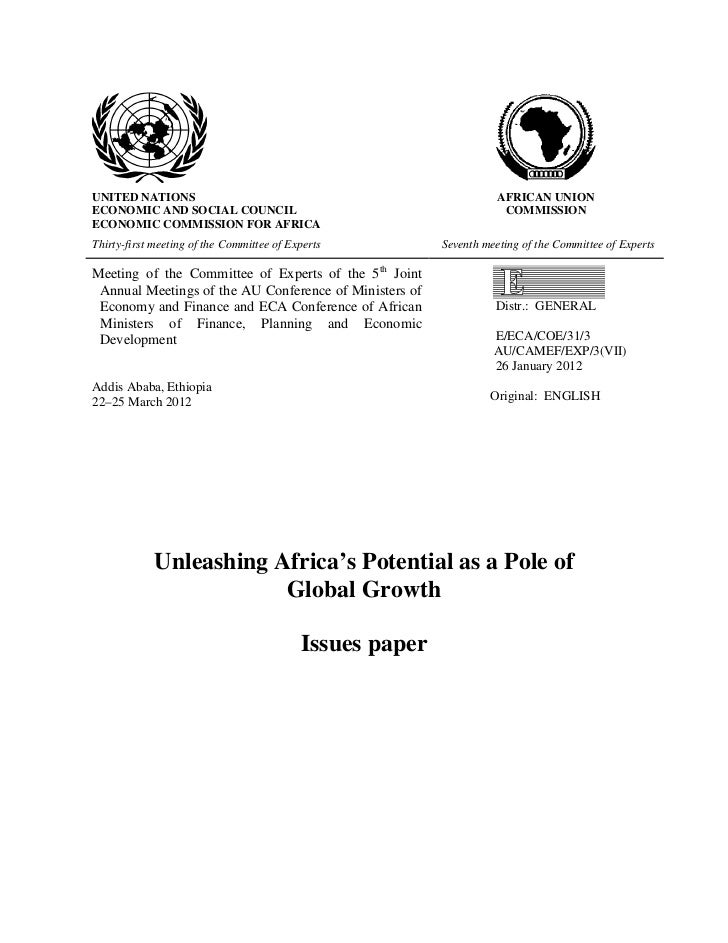 UNITED NATIONS                                                       AFRICAN UNIONECONOMIC AND SOCIAL COUNCIL             ...